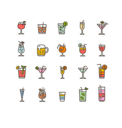 alcohol bar color thin line icon set vector image