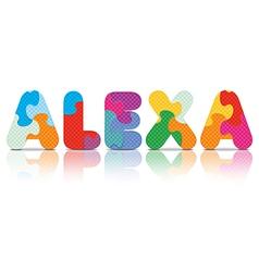 Alexa written with alphabet puzzle vector