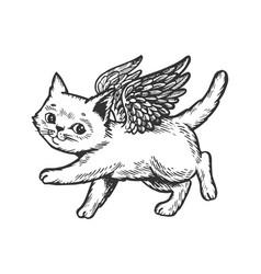 Angel flying kitten engraving vector