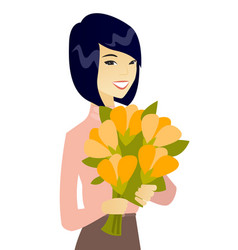 Asian business woman holding bouquet of flowers vector
