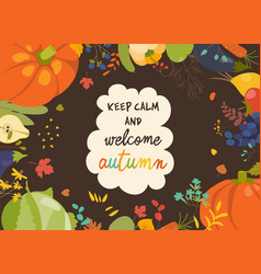 Autumn nature frame of fall season with vegetables vector