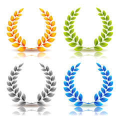 Awards and laurel leaves wreath set vector