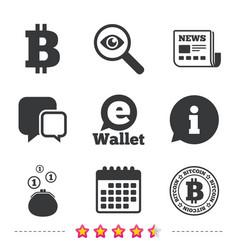 Bitcoin icons electronic wallet symbol vector