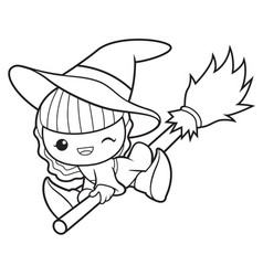 Black and white witch mascot fly in the sky vector