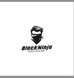 Black ninja logo design template vector