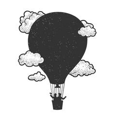black silhouette air balloon sketch vector image
