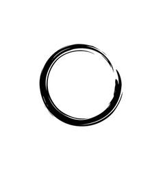 black watercolor hand drawing zen circle vector image