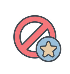 block cancel lock star stop icon vector image