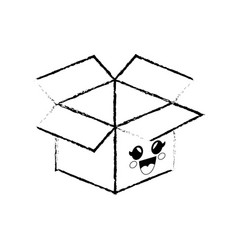 Box cartoon smiley vector