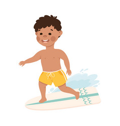 boy surfer riding on wave with surfboard kid vector image
