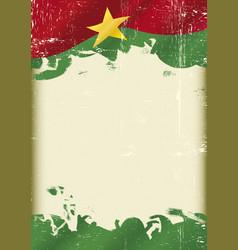 burkina faso flag grunge background vector image