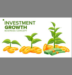 Business growth concept plant from money vector
