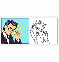 businessman or teacher handsome in glasses smiling vector image