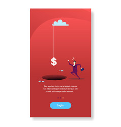 businessman run to dollar sign falling hole abyss vector image
