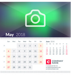 Calendar for may 2018 week starts on sunday 2 vector