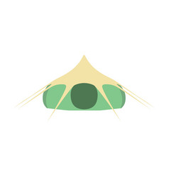camping tourist green tent icon isolated on white vector image