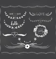 chalkboard wedding florals vintage set vector image