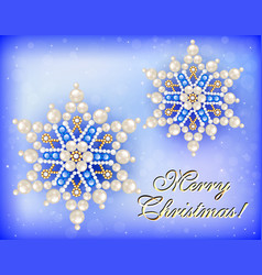 christmas card with snowflakes and congratulation vector image