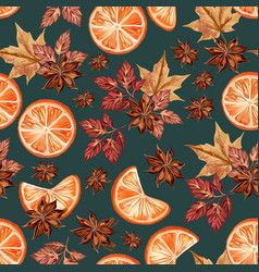 christmas seamless pattern with oranges and anise vector image