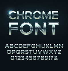 Chrome metal font steel metallic alphabet vector