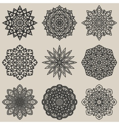 Circular floral pattern set vector