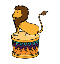 Circus lion domesticated in step vector