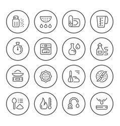 cooking related set round line icons vector image