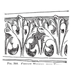 Cornice molding gable ends vintage engraving vector