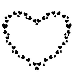 Cute black heart shaped frame for valentines love vector