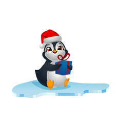 cute penguin cartoon in santa hat holding a gift vector image