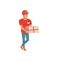 Delivery service worker with parcel in hands vector