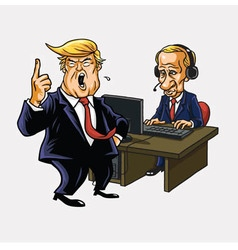Donald Trump And Vladimir Putin with Computer vector