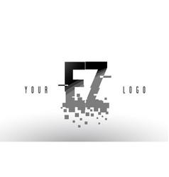 ez e z pixel letter logo with digital shattered vector image