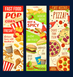 fastfood restaurant menu banners vector image
