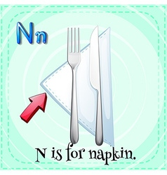 Flashcard alphabet N is for napkin vector image