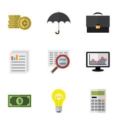 Flat icon finance set of document portfolio vector