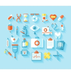 Flat medical icons set vector