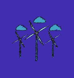 Flat shading style icon three wind turbines vector