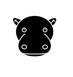 funny hippo black icon sign on isolated vector image