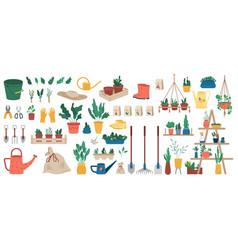 gardening tools green plants farmer equipment vector image