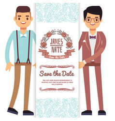 Gay wedding banner flyer or poster template vector