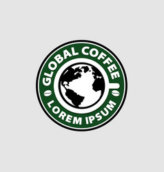 global coffee shop logo sign symbol icon vector image