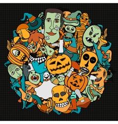 Halloween round vector image