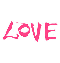 Hand written pink lettering love vector