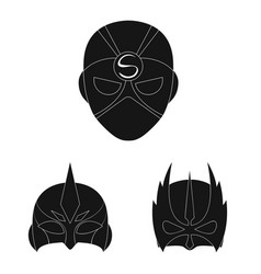 Hero and mask icon set of vector
