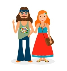Hippie girl and man icons vector