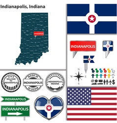 Indianapolis Indiana set vector
