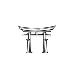 japanese gate hand drawn outline doodle icon vector image