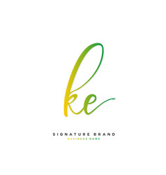 K e ke initial letter handwriting and signature vector