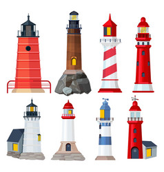 lighthouses collection night sailing building in vector image